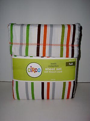 Circo Basic Striped FULL Sheet Set Orange Brown Green Gray Multi Stripes Target on Lookza