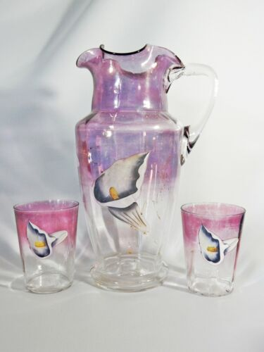 Superb Antique Victorian Large 3pc Water Set Glasses Pitcher Jug Calla Lily Pink