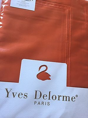 YVES DELORME TRIOMPHE CORAL SATIN Duvet Cover Set SUPERKING LUXURY