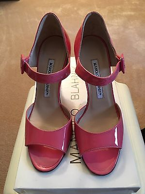 Brand New Manolo Blahnik Patent Leather Pink Stilettos Heels Size 35 Shoes