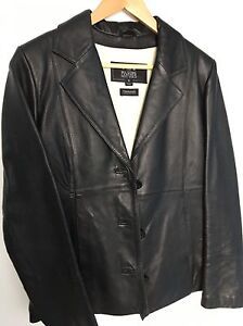 Small women's black leather jacket