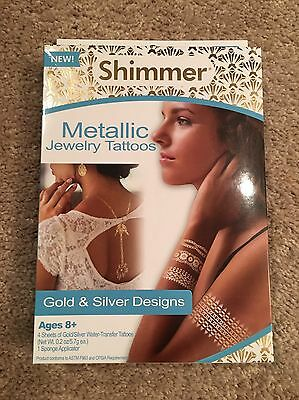 Shimmer Metallic Jewelry Tattoos Gold & Silver Designs 70 Tattoos NEW](Jewelry Tattoos)