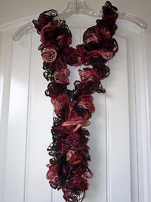 Handmade Crocheted Fashion Ruffle Scarf - Black Cherry