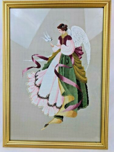 Lavender & Lace Angel of Grace Completed Cross Stitch Gold Framed Christmas