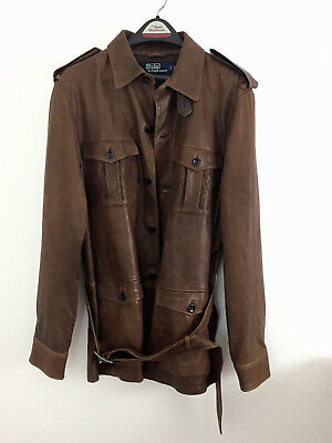 Ralph Lauren Mens Belted Brown Leather Motorcycle Jacket Never Worn
