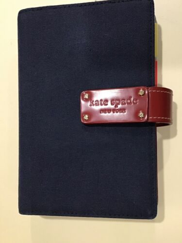 """KATE SPADE SNAP PLANNER 6 RING BINDER NAVY CANVAS RED LEATHER 5x7.5"""""""