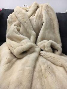 BNWOT RARE COUTURE REAL IVORY MINK FUR FULL LENGTH COAT NO FOX SABLE S/M UK10-12