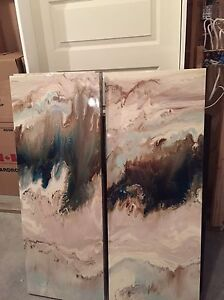 Abstract 3 piece canvas paintings