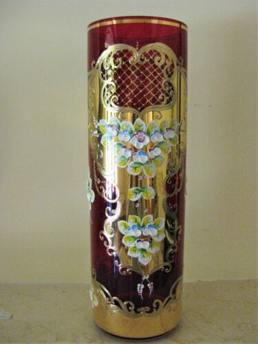 """Bohemian Glass 16"""" Red Vase with High Enamel decor and hand Painted Gold"""