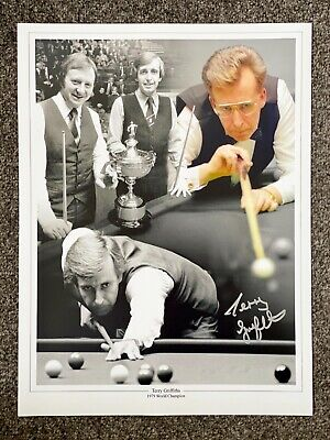 SALE TERRY GRIFFITHS SNOOKER HAND SIGNED PHOTO AUTHENTIC + COA - 16x12