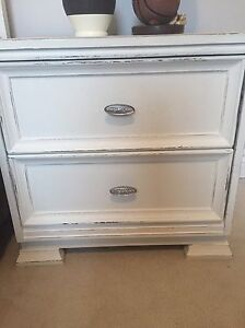Distressed Twin Bed and Side Table