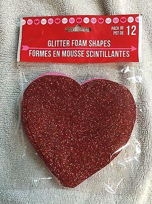 12pk Hearts Glittered Foam Valentines 6 Red Heart 6 Pink Heart 4