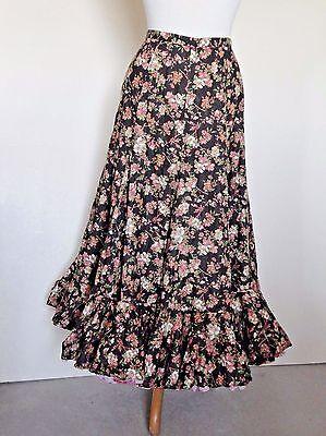 Vintage 8 Gored Brown Calico Prarie Skirt w - Triple Kostüme