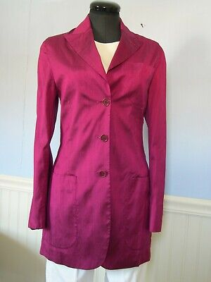 Romeo Gigli jacket, Vintage magenta silk shantung blazer, size 6
