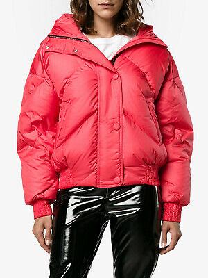 IENKI IENKI Dunlop Hooded Asymmetric Quilted Shell Bomber Jacket red Zip sz M