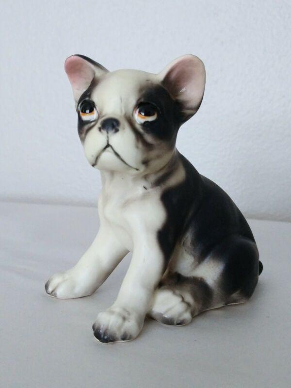 Vintage Boston Terrier Puppy Porcelain Figurine