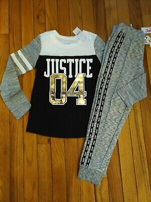 Girls Football Outfits (NWT Justice Girls Outfit Sequin Football Top/Logo Tape Jogger  Size 7 8 10 14)