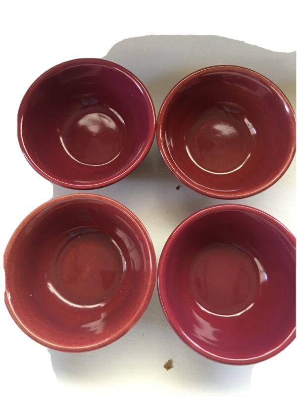 Bauer Pottery Ring Ware Pumpkin Mixing Small  4 Bowls