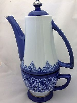Vintage Bombay Porcelain Teapot With Cup Set Tea-For-One Blue And White PreOwned