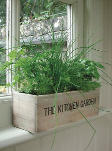 Indoor Herb Kit Garden Wooden Pots Herbs Seeds Kitchen Grow Your Own Planter Box