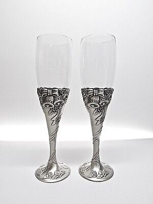 WEDDING BRIDE AND GROOM CHAMPAGNE TOASTING GOBLETS .. CRYSTAL WITH PETWER BASE  - Wedding Goblets