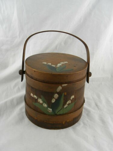Antique Vintage Primitive Wooden Firkin Bucket Hand Painted Cookie Jar