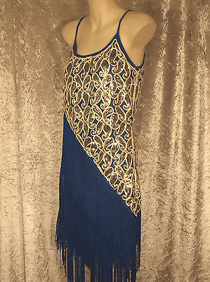 1920 Great Gatsby Style Flapper Party Dress Fringe & Paisley Sequins 1960 GoGo M