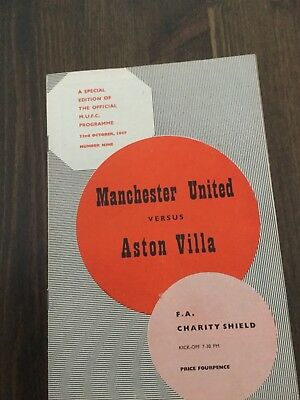 Manchester utd v Aston Villa 1957 FA Charity Shield very good cond without to,en