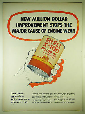 Vintage 1952 SHELL X-100 OIL / GASOLINE - Large Magazine Full-Page Print Ad