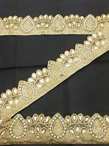 Fancy Gold Bridal Lace Trim Ribbon Sewing Craft Wedding Saree Border by 1 Yard