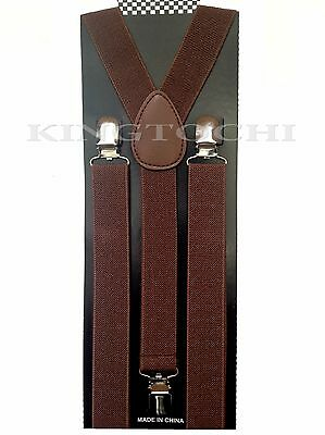 Mens Women D/Brown Clip-on Suspenders Elastic Y-Shape Adjustable Braces