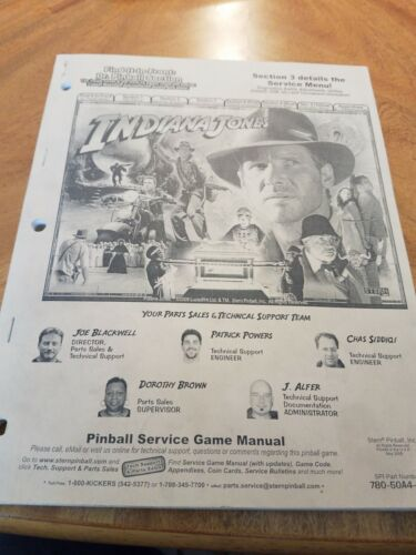Stern Indiana Jones pinball manual