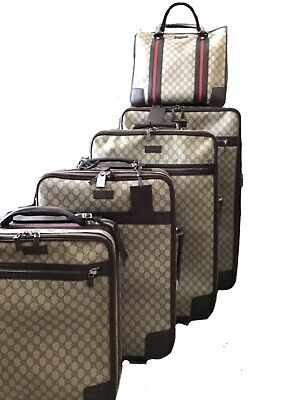 Incredible COMPLETE set AUTHENTIC GUCCI SUPREME 5PC LUGGAGE VTG. MINT CONDITION.