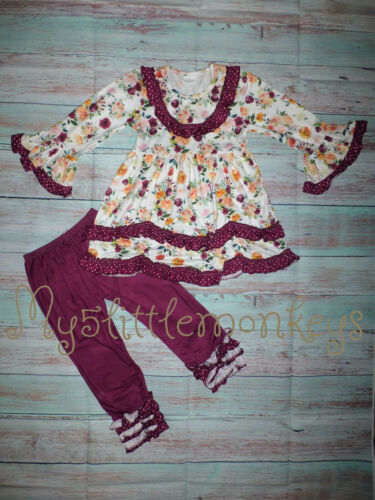 NEW Boutique Floral Ruffle Tunic Dress & Leggings Girls Outfit Set