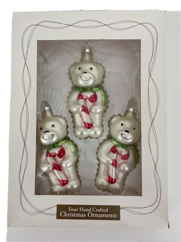 Target 2002 White Bear Candy Cane Hand Blown Glass 3 Christmas Tree Ornaments