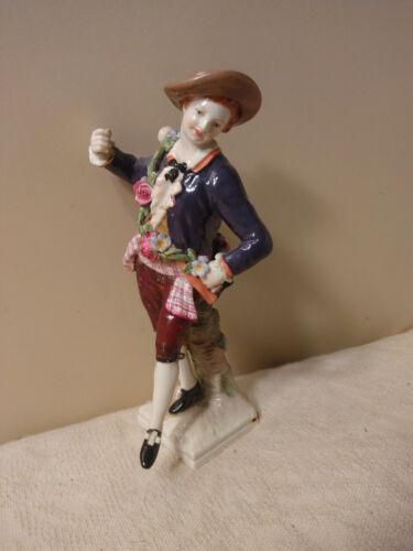 "Early FINE Antique KPM 6"" Porcelain Dancing Man w Flower Band, Foot Away LOOK"