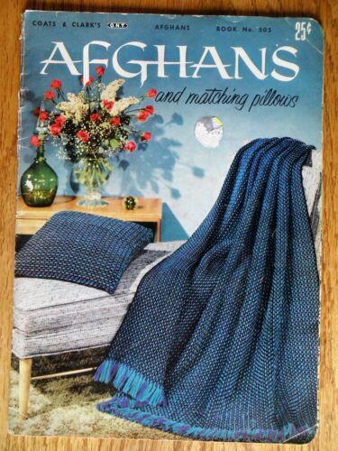 Afghans & Matching Pillows Crochet Patterns Coats & Clark Book 505 Vintage 1954