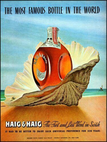 1947 Haig & Haig scots whisky bottle in seashell vintage art print Ad  adL54