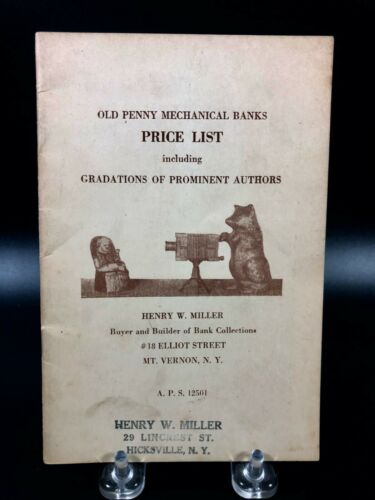 Vintage Old Penny Mechanical Banks Price List Miller ~ Guide Book Illustrated