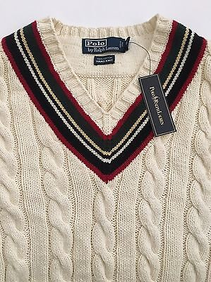 Polo Ralph Lauren Hand Cable Knit WhIte 100% Cotton V-neck Sweater Mens XL NWT