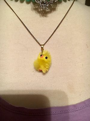 Vtg Chenille Chick Yellow Easter Chicken Pendant, Charm Adorable!