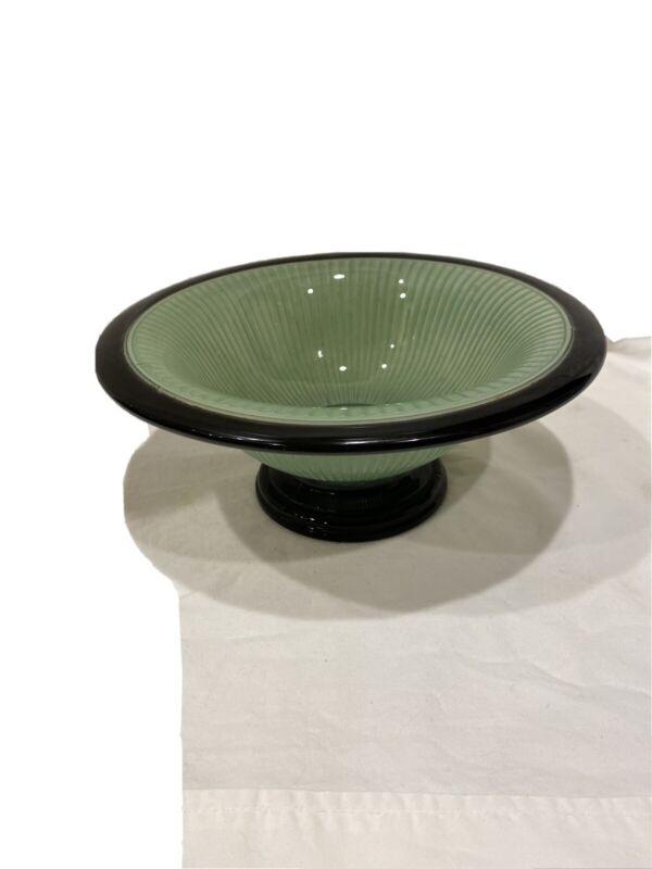 Vintage 40's Art Deco Green&Black Ribbed Pedestal Console Bowl- Cool!