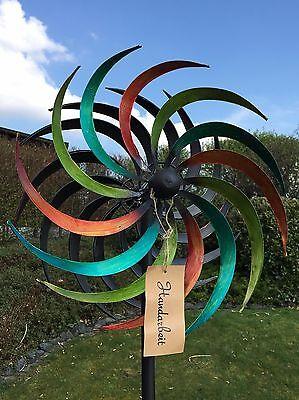 XXL Windrad Bunt ArtFerro Windspiel Gartenstecker Gartendeko Metall * H186 * Ø48