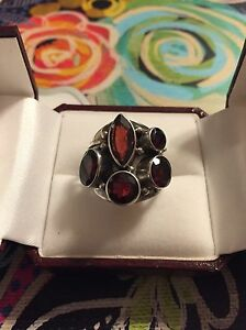 Sterling Silver Multi Garnet Ring- Brand New! Perfect Gift!