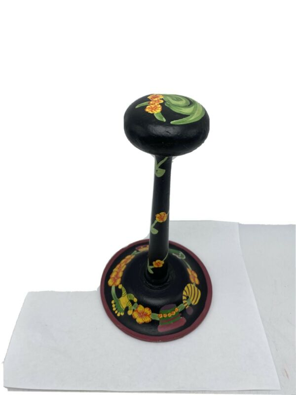 April Cornell Hand Painted Hat Stand Wooden Millinery Floral Wigs/ Hats Wood 10""