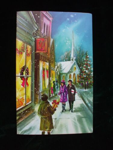 Vintage Christmas Greeting Card Midcentury Couple Window Shopping Church Unused