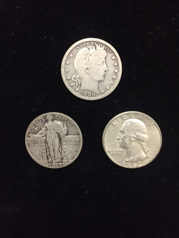 Quarter Collection, Barber, Liberty Standing and 90 % Silver Washington Quarter