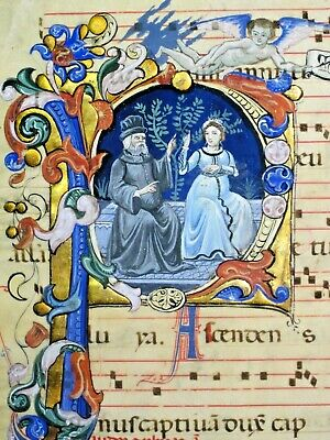 Amazing spectacular metamorphosis of a large 14th c.music leaf, ca.1350-19/20thC