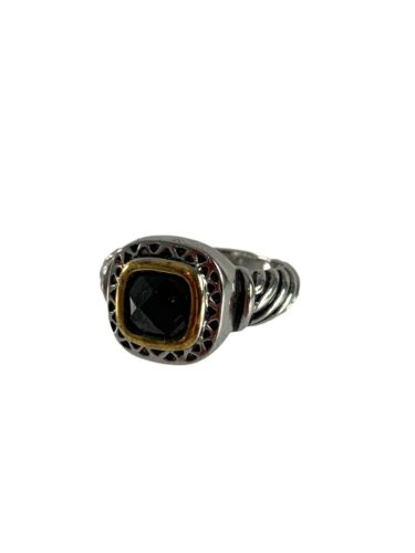 Silver Colored Gold Tone 18K GE Ring Black Faceted Stone Scroll Band Size 7