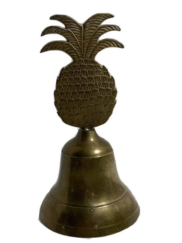 """Vintage Brass Bell with Pineapple Handle 7.5"""" Tall WELCOME!"""